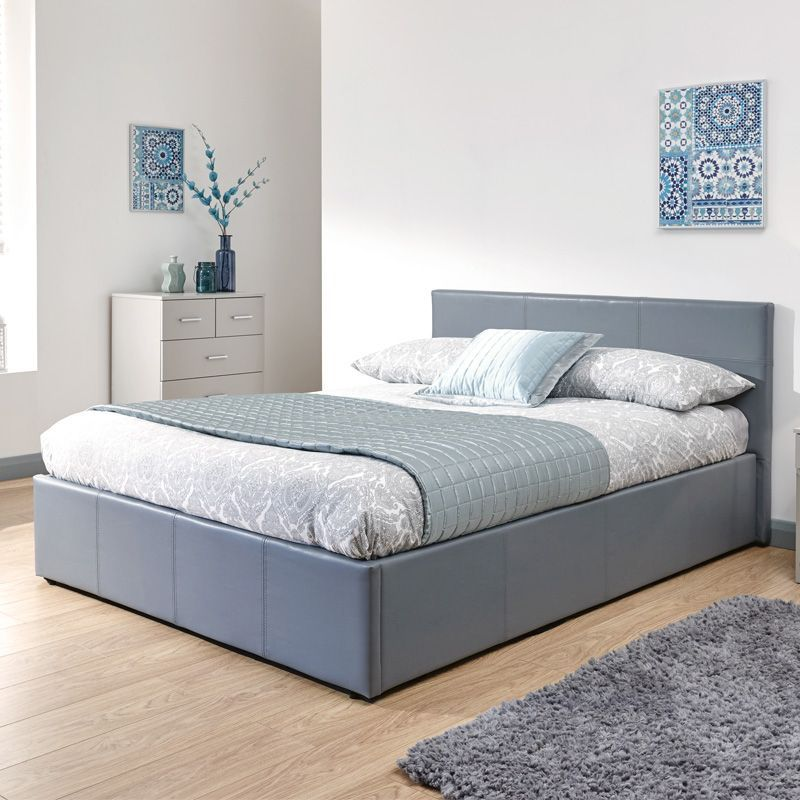 Winston End Lift Double Ottoman Bed Grey Faux Leather