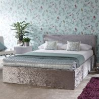 See more information about the Crushed Velvet Grey End Lift Ottoman 4ft Queen Size Bed Frame