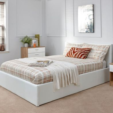 Faux Leather Double Bed 4ft 6in White Ottoman Bed Frame
