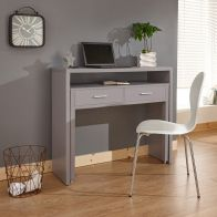 See more information about the Regis Extending Console Desk Grey 2 Drawer