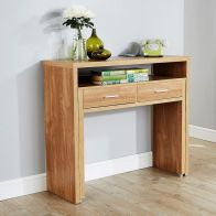 See more information about the Regis Extending Oak Finish 2 Drawer Console Desk