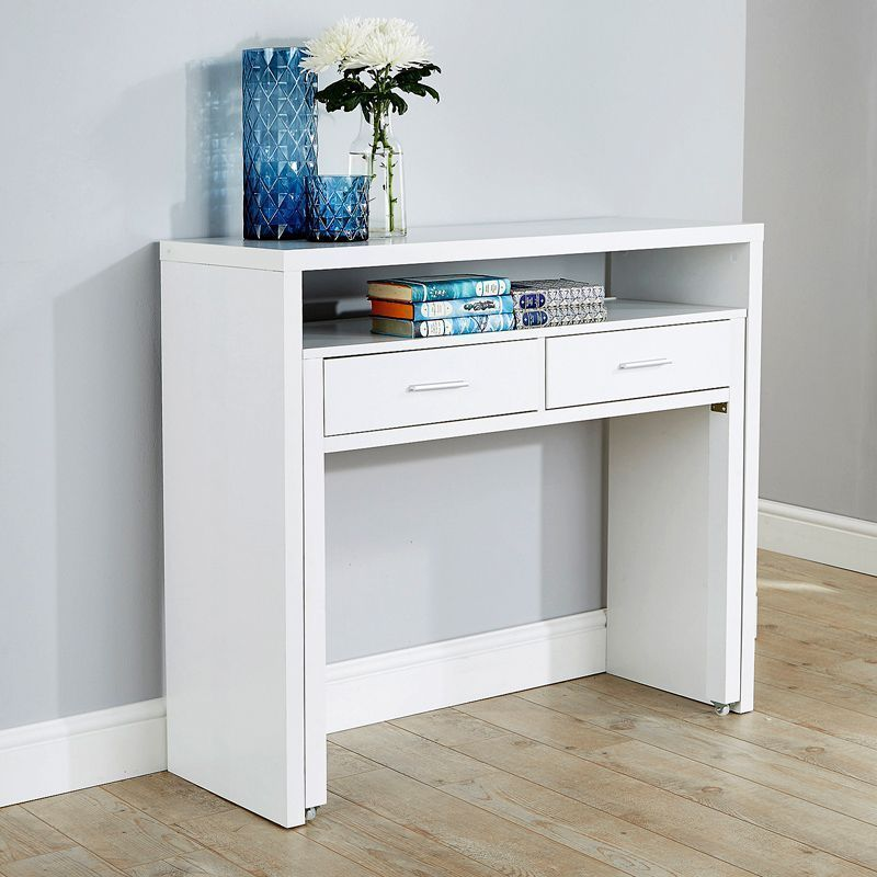 Budget Extending Console Desk White 2 Drawer