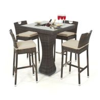 See more information about the 4 Seat Patio Bar Set with Ice Bucket Brown
