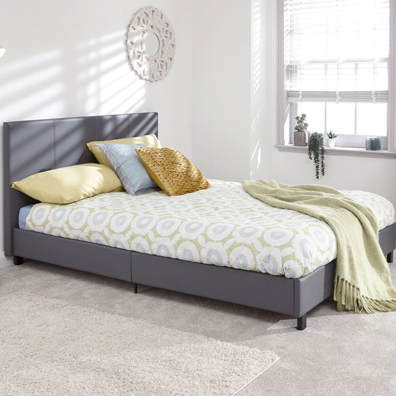 Bugi Small Double Bed In A Box Grey Faux Leather
