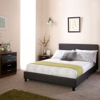 See more information about the Bed In A Box Black Faux Leather Queensize 4ft Bedstead