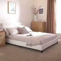 See more information about the Bed In A Box White Faux Leather 4ft Queen Size Bedstead