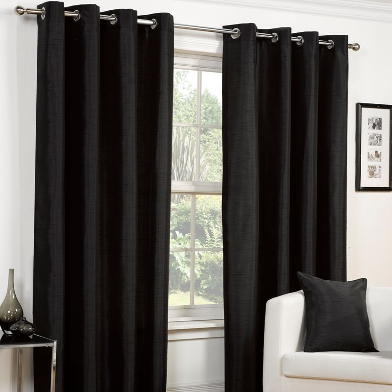 "Faux Silk Eyelet Curtains (45"" Width x 72"" Drop) - Black"