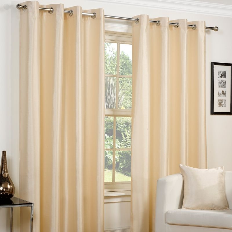 "Faux Silk Eyelet Curtains (45"" Width x 72"" Drop) - Cream"