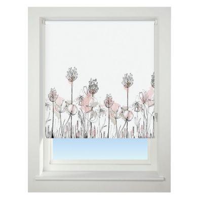 Universal 120cm Pink Floral Border Blackout Roller Blind