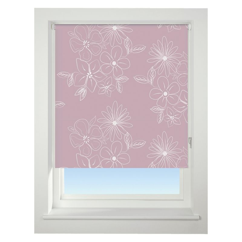 universal 90cm pink floral cluster blackout roller blind. Black Bedroom Furniture Sets. Home Design Ideas