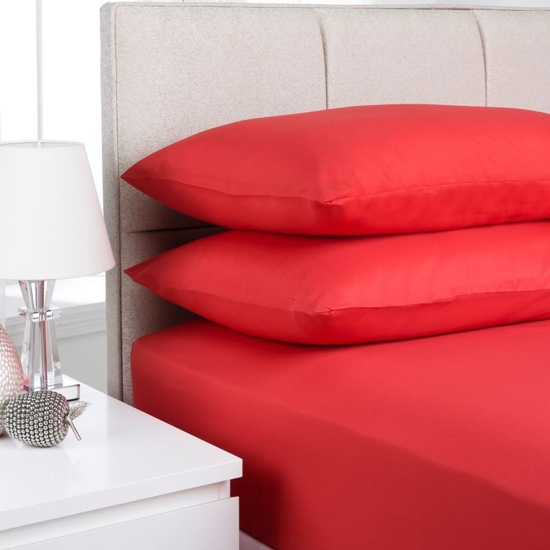 Fusion Fitted Sheet Single Bed Red