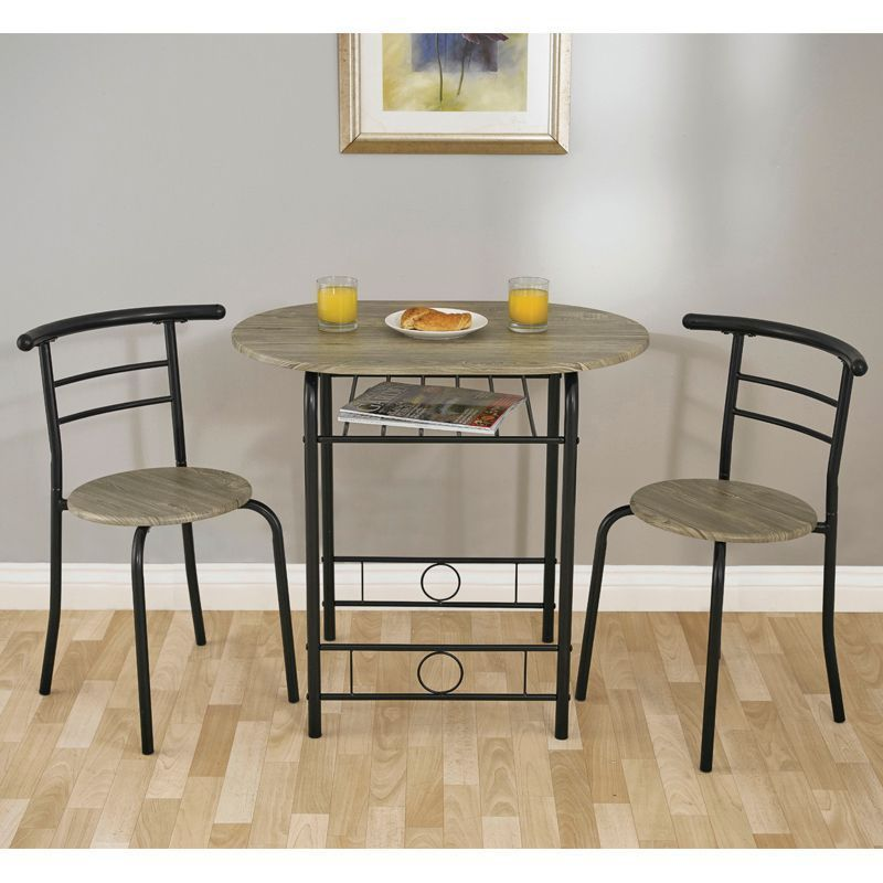 Compact 2 Seater Dining Set Grey & Black With 2 Chairs