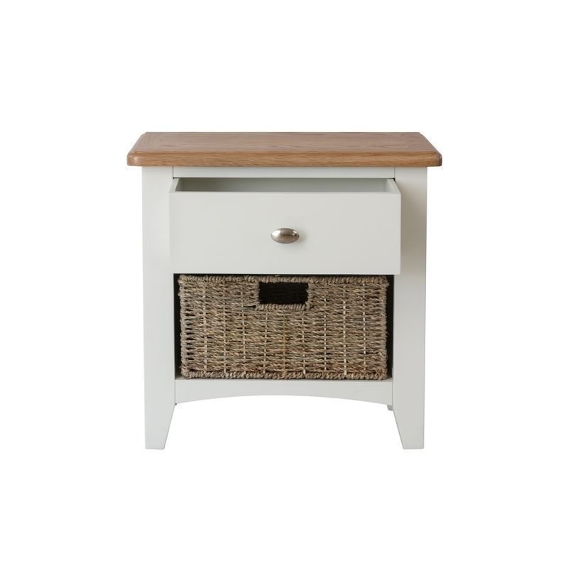 Ava Oak & Wicker 2 Drawer Chest White
