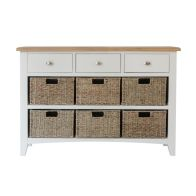 See more information about the Ava Oak & Wicker 9 Drawer Chest White