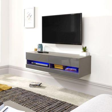 Galicia 120cm Grey & Black Gloss LED Wall TV Unit