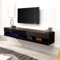 See more information about the Galicia Wall TV Unit Black 2 Door 2 Shelf 150cm