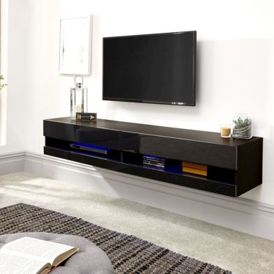 Galicia 180cm Grey & Black Gloss LED Wall TV Unit