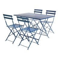 See more information about the 4 Seater Rectangular Folding Metal Dining Set - Navy Grey