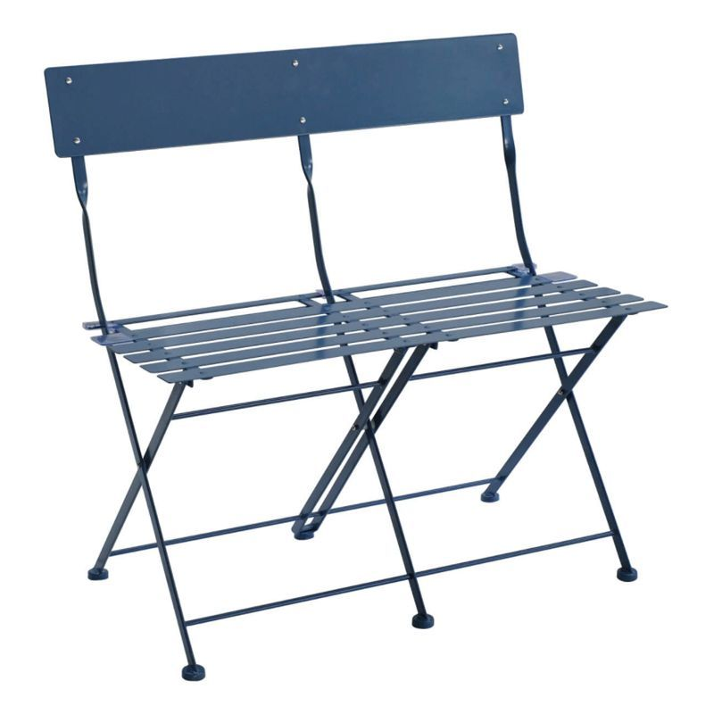 2 Seater Folding Metal Bistro Garden Patio Bench - Navy
