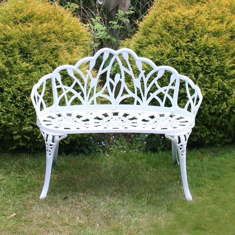 Miraculous Tulip Cast Aluminium Metal 2 Seater Garden Bench Seat White Ncnpc Chair Design For Home Ncnpcorg