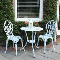 See more information about the 2 Seater Cast Aluminium 3 Piece Cast Garden Bistro Set - White