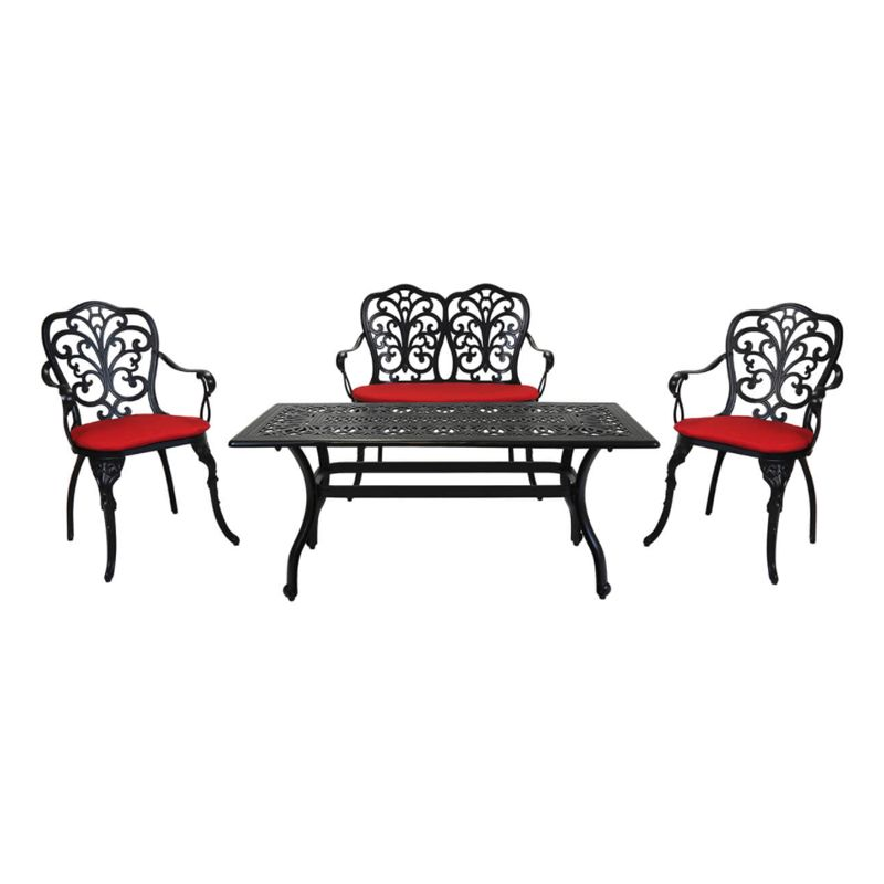 4 Seater Cast Aluminium Garden Patio Lounge Set & Red Cushioned Seats