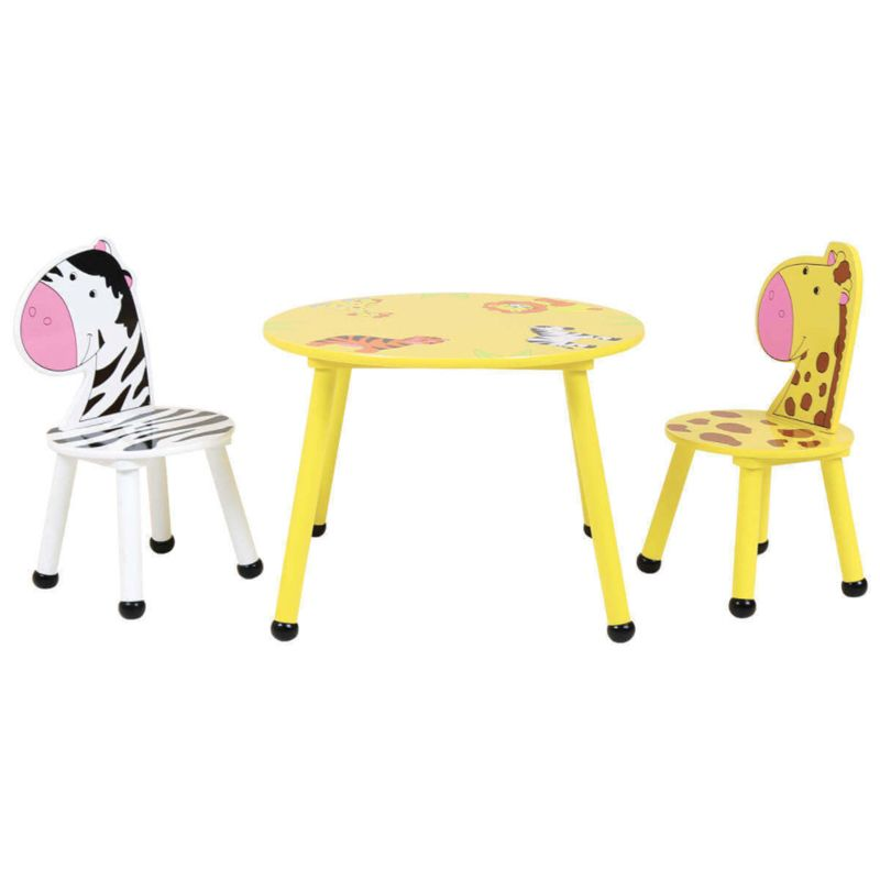 2 Seat Kids Jungle Safari Wooden Table & Chairs Set