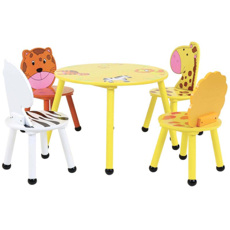4 Seat Kids Jungle Safari Wooden Table & Chairs Set