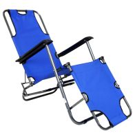 See more information about the Foldable 2-In-1 Camping Chair & Reclining Lounger  - Blue
