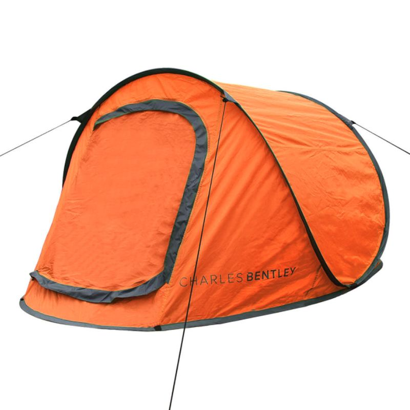 2 Man Instant Pop Up Camping Tent With Waterproof Groundsheet - Orange