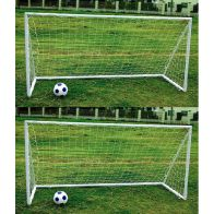 See more information about the Pair Of Kids Junior 8ft x 4ft Plastic Portable White Football Goals