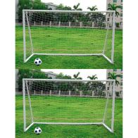 See more information about the Pair Of Kids Junior 10 Foot x 6 Foot White Portable Football Goals