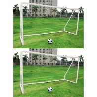 See more information about the Pair Of Kids Junior 12 Foot x 6 Foot White Football Goals