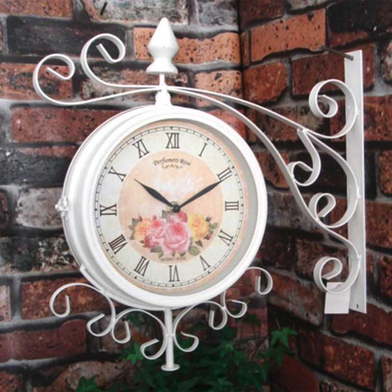 37cm Metal Vintage Double Sided Garden Wall Clock - Cream