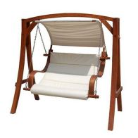 See more information about the Wooden Large 2-3 Seater Garden Swing Seat Hammock with Canopy Cream 1.