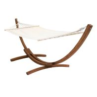 See more information about the Free Standing Garden Hammock & Wooden Arc Stand - Cream