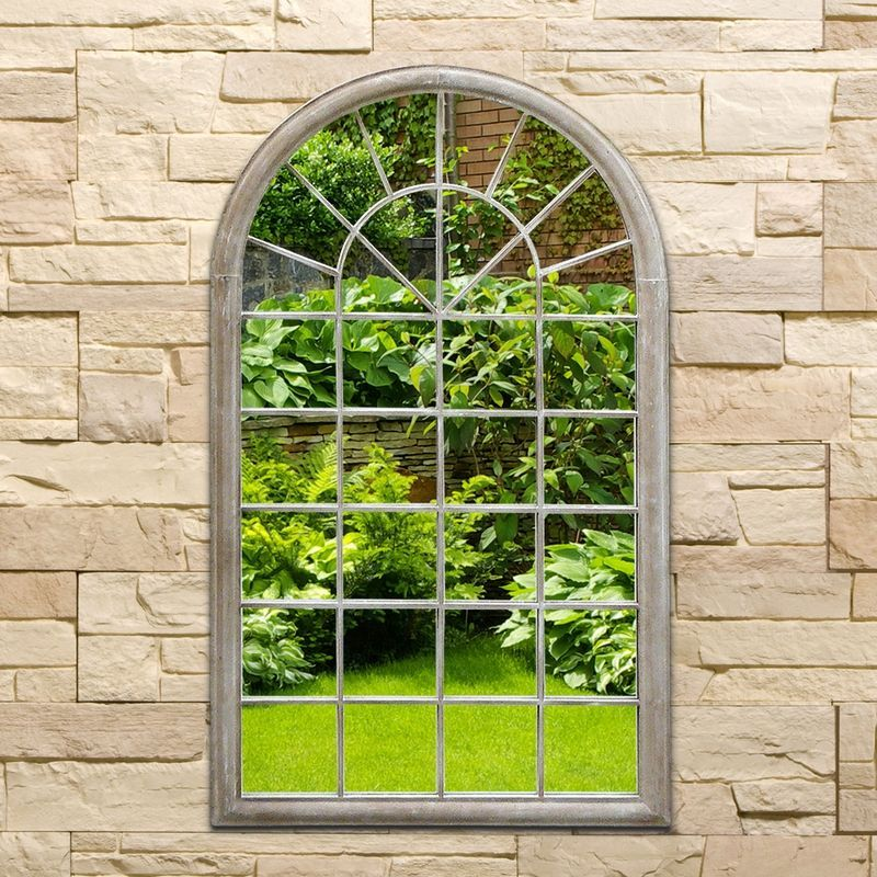 Arched Decorative Garden Wall Mirror Natural