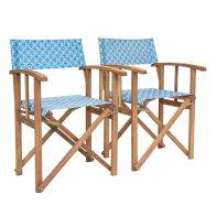 See more information about the Pair Of Folding Wooden Directors Chairs FSC Certified - Shell Pattern