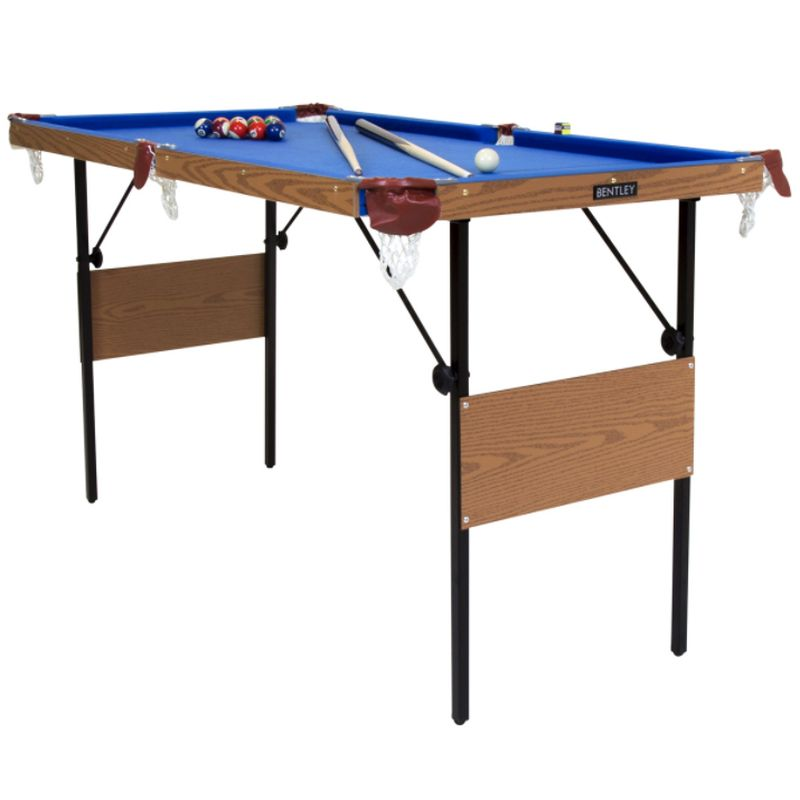 4 Foot 6 Inch Blue Pool Games Table Including Balls & 2 Cues