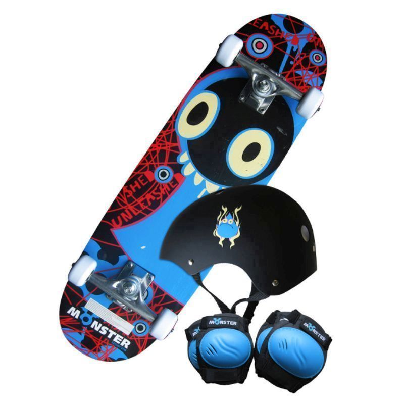 "28"" Monster Skateboard Set - Board Helmet Pads and Backpack"