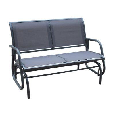 2 Seater Glider Rocking Garden Patio Bench With Mesh Seat - Grey