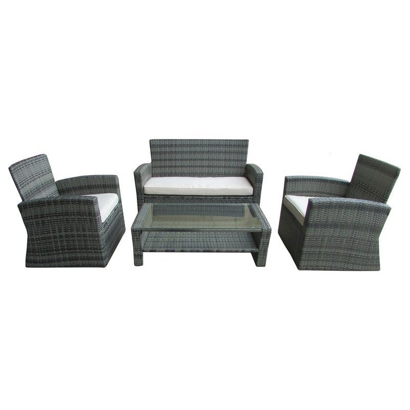 Deluxe Modern Rattan 4 Piece Garden, Grey Rattan Patio Furniture Set