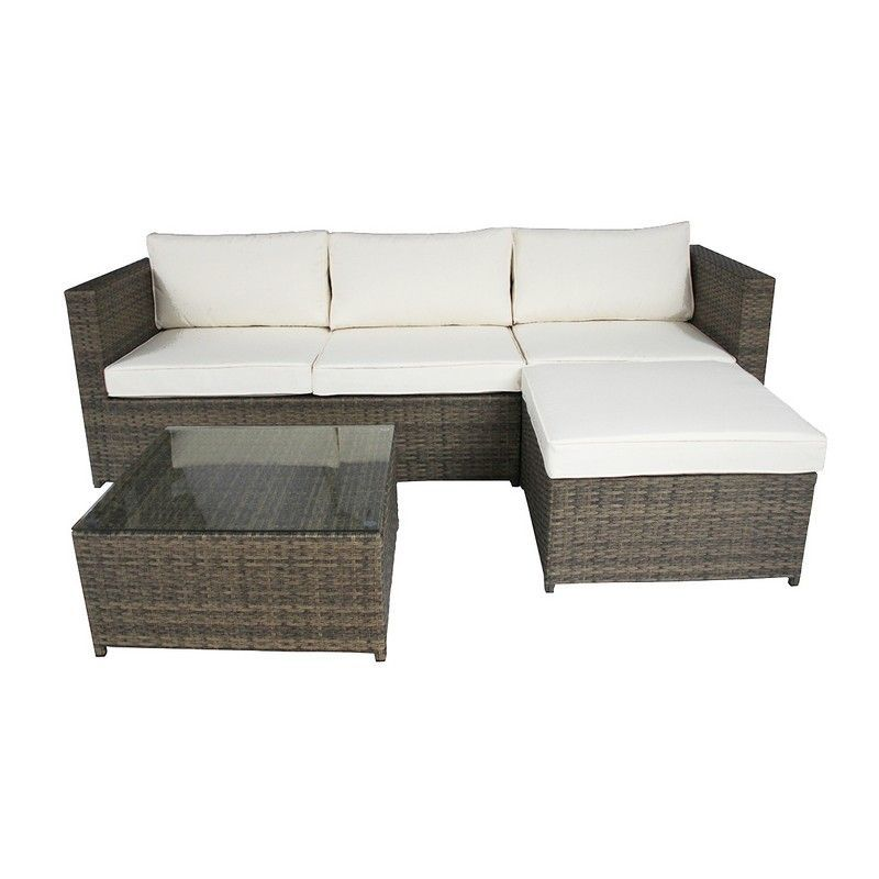 Outstanding 3 Seater L Shaped Garden Rattan Furniture Lounge Set Brown Ncnpc Chair Design For Home Ncnpcorg