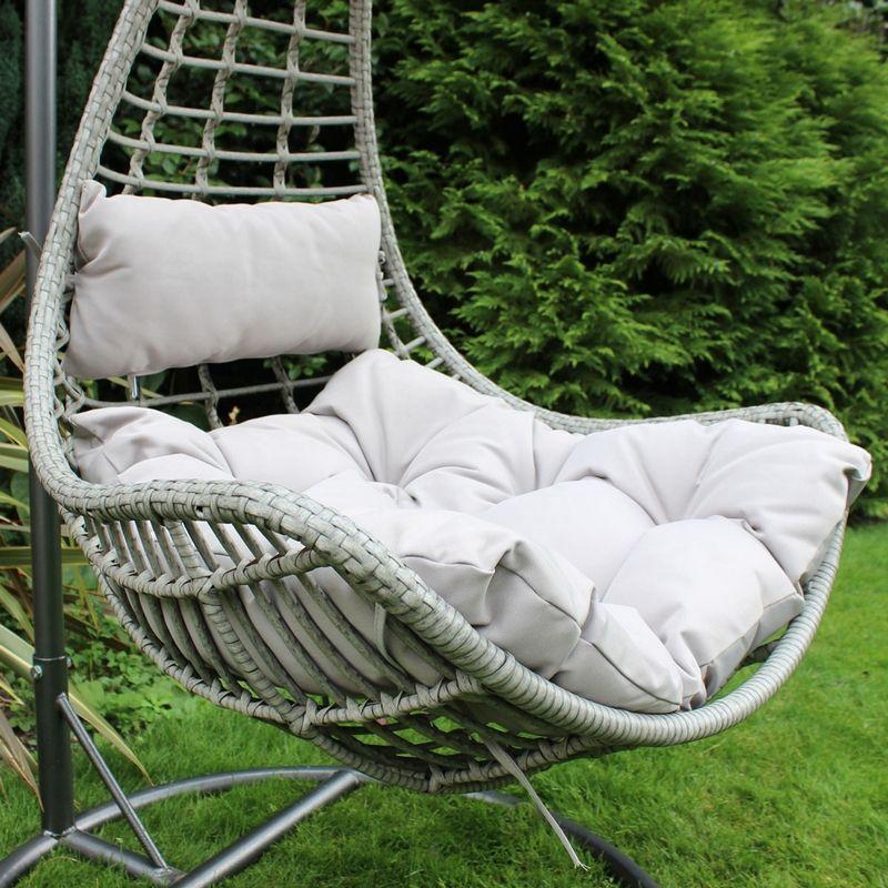 Superb Rattan Hanging Garden Swing Chair With Cushion Grey Download Free Architecture Designs Ferenbritishbridgeorg