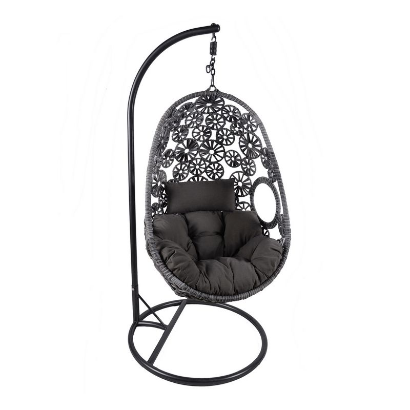 Rattan Hanging Garden Swing Chair Cushion Grey Buy Online At Qd Stores
