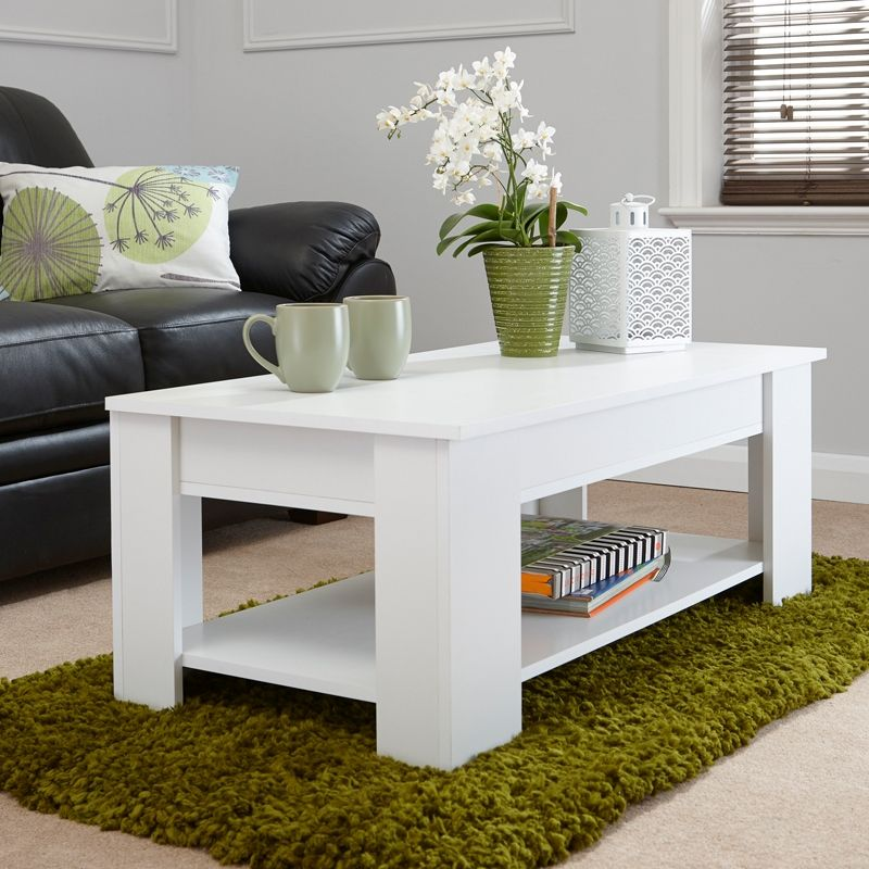 Budget Lift Up Coffee Table White 1 Shelf - Buy Online at ...
