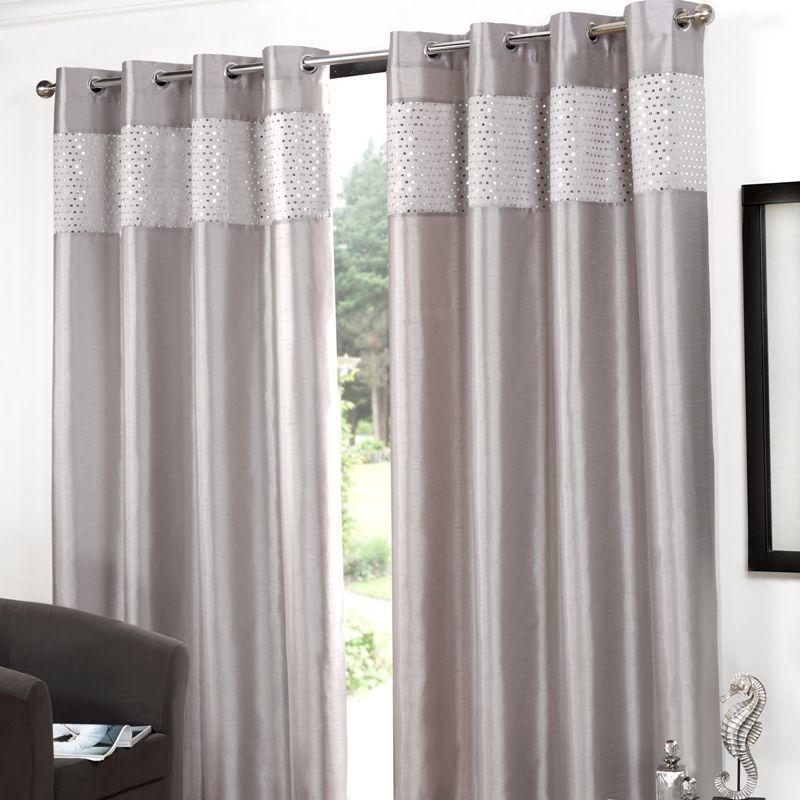 Glitz Eyelet Curtains 90 Width X 90 Drop Silver Buy Online At Qd Stores