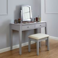 See more information about the Hattie Dressing Table Grey 2 Drawer With Stool