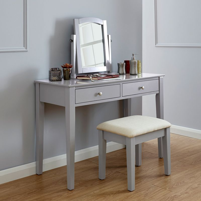 Hattie Dressing Table Grey 2 Drawer With Stool