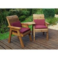 See more information about the Charles Taylor 2 Seat Companion Angled Garden Bench - Burgundy Cushion